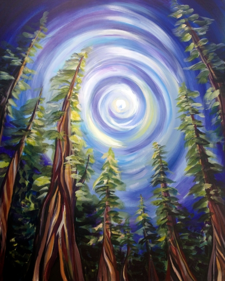 landscape painting of a forest by Kathryn Beals