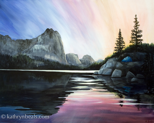 This is a painting that I made from photos after one of our week long trips. We c&ed one night in the Big Five Lakes region of Sequoia National Park & Camping In the Sierras Finished Tent Painting | how I paint