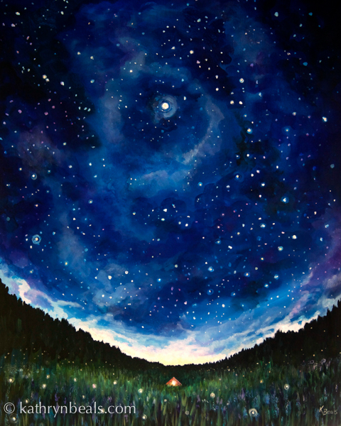 Finished Night Sky Painting: Wonder | how I paint